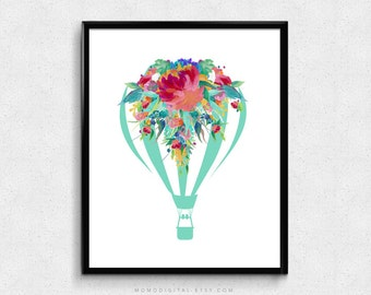 SALE -  Teal Aqua Hot Air Balloon, Watercolor Floral, Flower Nature Art Poster Print, Shabby Chic, Baby Girl Nursery, Dorm Office