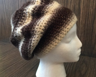 Black and White striped ombre slouchy crocheted hat with silver threads