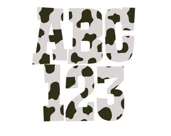 Cow Print Alphabet, Cow Print Clipart Letters, Cow Print Letters, Digital Download