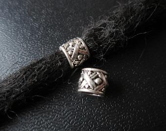 2PCS Silver Dreadlock beads dread Hair Braid Jewelry Accessories 6mm hole