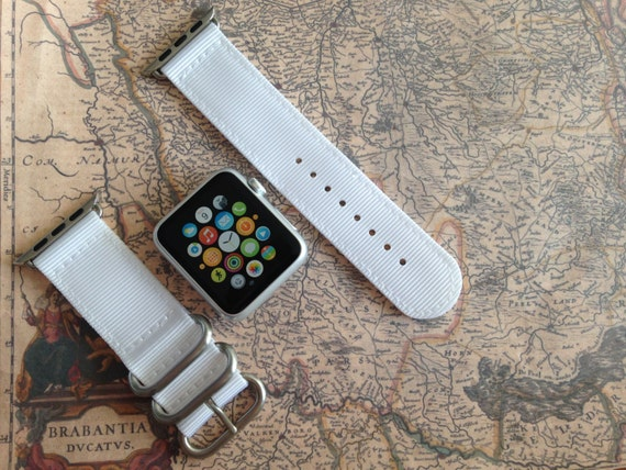 Apple watch original, series 1, series 2 band: Zulu strap (silver rings) 2-piece (White) 42mm, Free Shipping Worldwide!