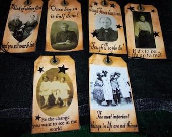 SIX large Vintage Primitive Hang Tags Change, Hope, Encouragement, Support, LOVE