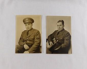 Vintage WWII Portrait Photograph, Serviceman Militaria