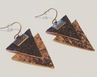Brown Triangle Leather Earrings