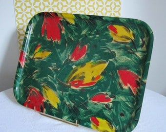 Vintage Serving Tray fiber glass green , yellow, red , black, 50s .