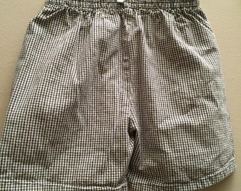 Size 5, Vintage Classic Baby Clothes, Green and Grey Checked Shorts