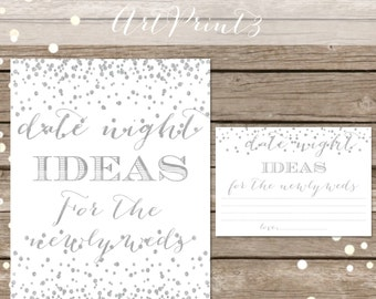 Date Night Ideas, Printable Bridal Shower Date Night Idea Cards Sign, Silver Confetti Bridal Shower Activity, Date Night Idea Printable