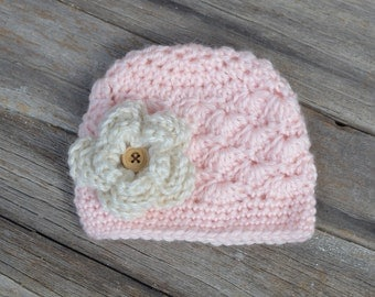 SALE!  Ready to Ship!  Newborn Crochet Baby Beanie, Soft Pink Baby Girl Beanie, Girl Hat, Solid Shells Beanie, Gift
