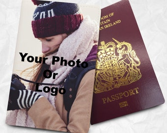 Custom Photo passport cover with Personalized design for travellers, wedding gift