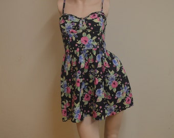 Black Floral Short Dress