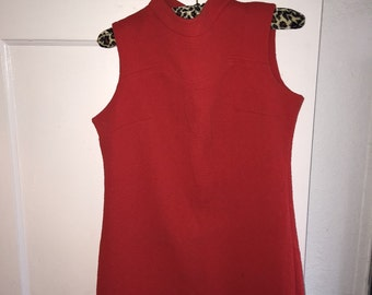 1960s vintage sleeveless red orange polyester mini dress