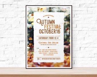 DIY Printable Fall Festival Flyer Template, Word Flyer Templates, Bazaar Flyer, Kids Party, Outdoor Picnic Flyer, Autumn Flyer
