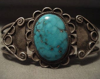 Early 1900's Vintage Navajo Domed Turquoise Silver Bracelet