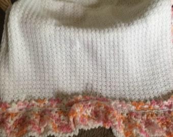 Crochet Baby Afghan Blanket Lacy Ruffles