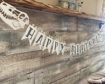 "Dinosaur ""Happy Birthday"" Banner-Customizable"