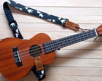 Black Birds Ukulele Strap 3 in 1