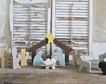Custom made - Nativity set, Christmas decoration, holy night decor, babe in manger decor, nativity, rustic Christmas decor, wood nativity