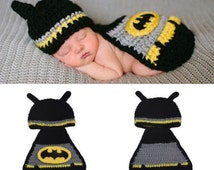 So cute crochet Batman hat and cape/ Superman/ Spiderman/  lovely photo prop or baby shower gift preemie - 3 months