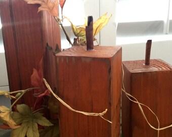 Set of 3 Rustic Wood Pumpkins