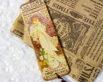 Wooden bookmark Alfons Mucha Mothers day gift for mom Decoupage bookmark Great artist Art nouveau Wood planner clip Paperclip Teacher gift