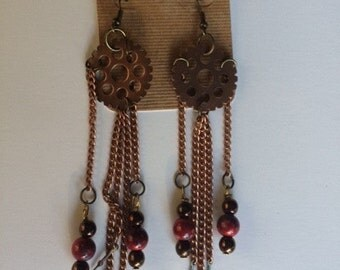 Steampunk Gear, Clock Hand, And Bead Earrings, Gear, Bead, And, Clock Hand Earrings Hand Made Earrings