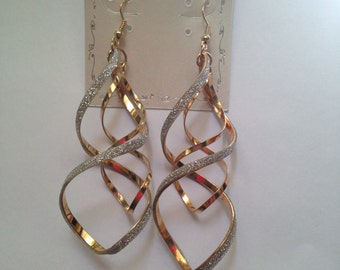 Gold and Glitter Twisted Earrings
