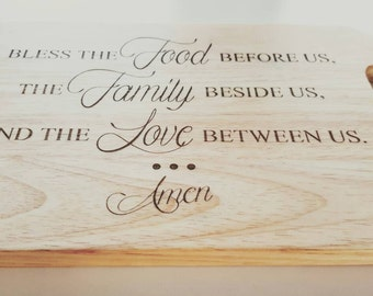 Engraved Timber Wooden Kitchen cutting board. Bless Food, Family, Love, Amen. Christmas gift idea.