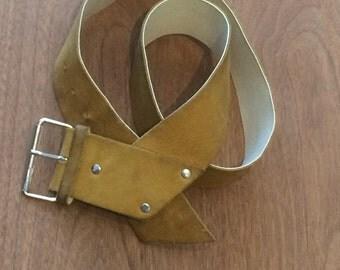 Vintage Mustard Colored Suede Belt