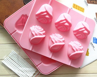 Rose Floral Lollipop Cake Mold Flexible Silicone Soap Mold For Handmade Chocolate Cookie Bakeware Pudding Jelly Baking Tools