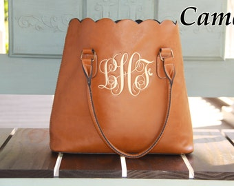 Monogrammed Tote Classy Scalloped Faux Leather