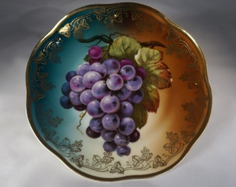 Antique Z. S. & Co. Bavarian Mignon Ceramic Plate with Grapes