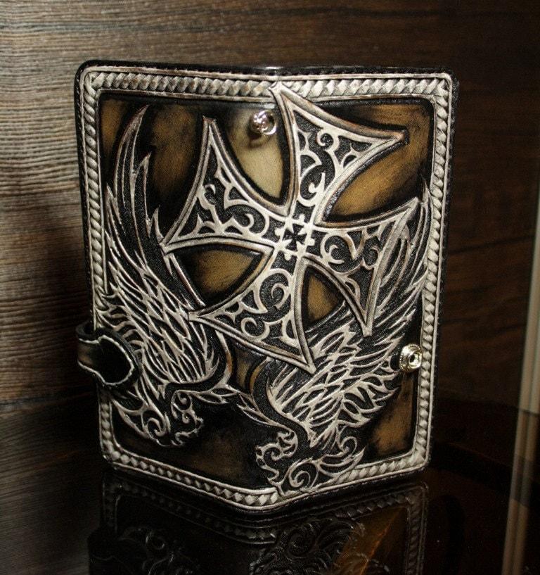 Hand tooled leather biker wallet carved mens