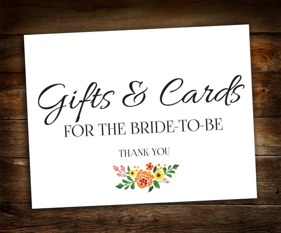 Gift Card Wedding Shower: Bridal Shower Gift Table Sign Wedding Shower Cards And Gifts