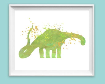 CLEARANCE 8x10 Brontosaurus, Green, Watercolor, PRINT, Dinosaur Poster Dino wall art, kids illustration child playroom decor