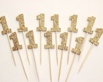 12 Glitter number toothpicks. Great for Baby showers, Birthday Parties and more. Number 1,2,3 and more.