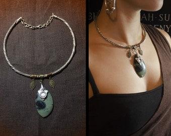 Woodlands forest necklace tribal torque gemstone jaspe elfic orbicular gypsy kambaba jasper