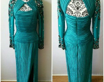 80s George F Couture size 10 in Sea Goddess/Green/Aqua Blue/ Mother Of The Bride/Evening Gown