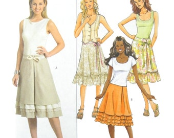2006 Butterick 4798 Misses' Lined Skirts with Ruffle Variations, OOP, New, Uncut, Factory Folded Sewing Pattern Size 6-12