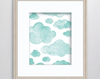 Clouds Watercolor Print - SMc. Originals, watercolor painting, rustic, modern, original artwork, nursery decor, nursery art, nursery print