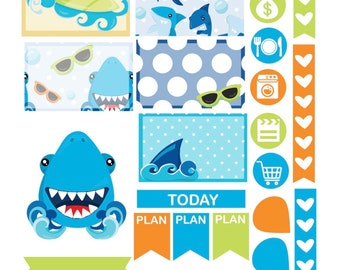SMILING SHARKS DECO  Weekly Theme sticker set Perfect for Erin Condren Life Planner