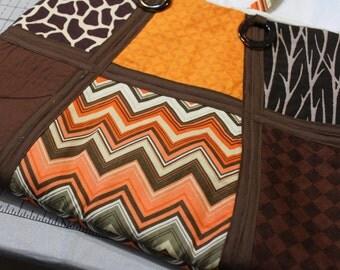 Browns/Orange 6 Panel Purse