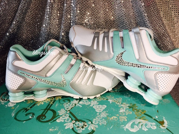 new products 964d8 036fa hot sale Blinged Nike Womens NIKE Shox Current Shoes TEAL by Blingsshop