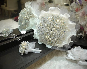 999pcs Swarovski crysal with pearl bouquet with with Groom's Boutonniere