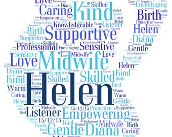 Personalised word art A4 print and digital image pregnant lady silhouette. Ideal gift for expectant mother, thank you gift for midwife