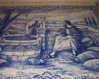 Jesus and the Samaritan woman by the well religious art tile mural