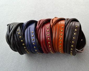 Genuine Leather Studded Bracelet Leather Cuff Braid Bracelet