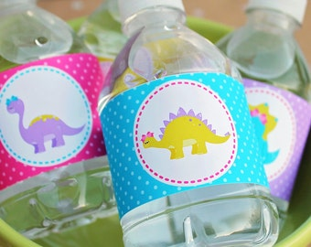 Girly Dinosaur Printable Party Labels, Water Bottle Wrappers, Printable Dinosaur Labels, Printable Dinosaur Wraps, Dinosaur Party Printable
