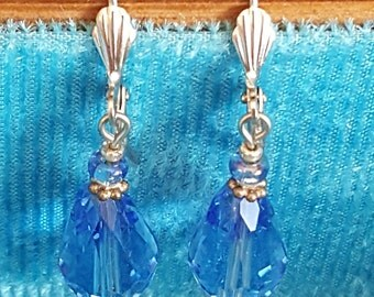 Blue Crystals Silver Plated Leverback Earrings / Handmade