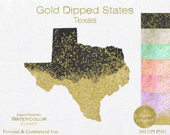 WATERCOLOR & GOLD TEXAS Clipart Commercial Use Clipart United States Shapes Wedding Clipart Gold Confetti Dust Texas Clip Art Graphics
