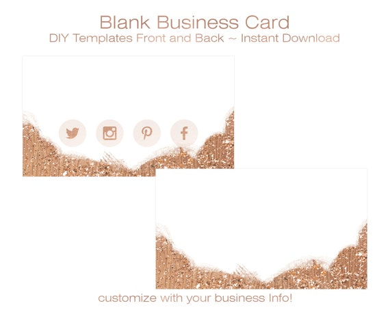 BUSINESS CARD Template DIY Blank Business Card Standard Size